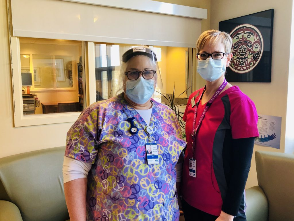 Victoria Hospice nurses Adrienne and Tracy wearing PPE